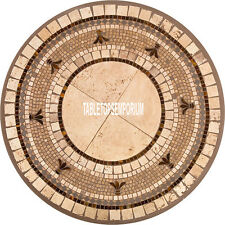 48'' White Marble Vintage Dining Round Table Top Pietradura Inlaid Outdoor Decor