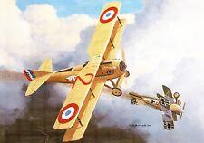 Postcard Aircraft SPAD VII Shooting down Albatross D III - modern card / large