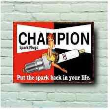 CHAMPION SPARK PLUG SIGN RETRO STYLE PLAQUE CLASSIC CAR SERVICE GARAGE MAN CAVE