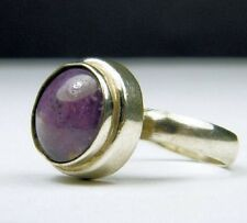 Vintage Antique Estate~Genuine Amethyst 925 Solid Sterling Silver Ring 7 adjust