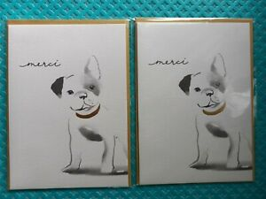 Papyrus Merci Puppy Dog Card Blank Inside 2 count