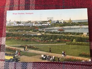 SOUTHPORT PLEASURELAND VIEW WITH ROLLER COASTERS - POST CARD 1934 amusement park