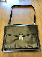 Vtg Blavk Leather Floral Paisley Lined Attache Case Messenger Bag W Strap