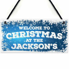 Personalised Christmas At The Family Name Decor Hanging Plaque Xmas Gift Sign