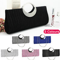 Womens Evening Party Prom Clutch Bridal Bag Purse Ladies Wallet Diamante Type UK