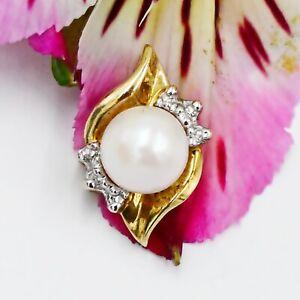 10k Yellow Gold Estate Swirl Pearl & Diamond Gemstone Pendant