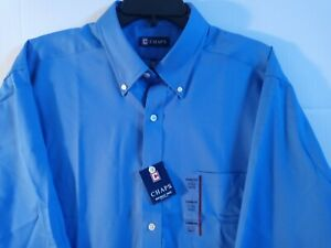 NWT Men's Chaps Classic Fit Oxford Wrinkle Free Button Down Royal Blue Shirt $45