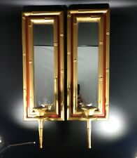 "Set of 2 Vintage Mirrors Candle Holders Wall Sconces Faux Bamboo 19.5"" Gold Red"