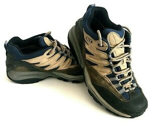 Vasque Mens Size 8M Green Beige Leather Gore-Tex XCR Lined Stealth Hiking Boots