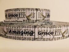 "Grosgrain Ribbon Amazing Grace Song Hymn White Dove Jesus Faith Saves 1"" Wide"
