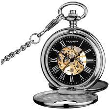 Men's Akribos XXIV AK609SSB Antique Mechanical Skeleton Chain Pocket Watch