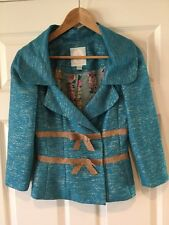 Tracy Reese New York Bright Blue Blazer with Gold Bows and Shimmer, Size 4
