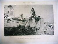 ART phototypie XIXe d'après Benj. Constant - le soir sur les terrasses maroc