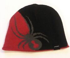 Spyder brand Red And Black Beanie with grey  spider logo