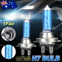 1Pair 12V H7 Headlight Globes 55W Xenon Halogen Car Front 6000k White Lamp Bulb