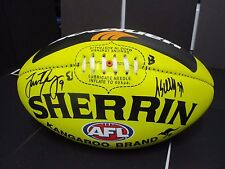 Melbourne : T.Scully (#1) & J.Trengove (#2) signed Yellow Sherrin Footy-Hankook