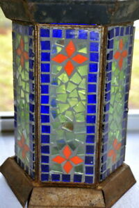 Tall Vintage Stained glass candle lantern holder #S
