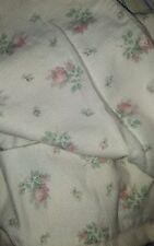 vtg Laura Ashley - beautiful cream flannel flat twin sheet, pink flowers