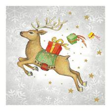 20 Serviettes en Papier Noël Volant Renne Cerf Stars Cadeau Flocons de Neige