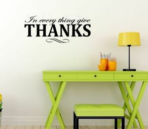 In Everything Give Thanks Vinyl Lettering Fall Home Decor Stickers Quote
