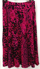 Skirt Emma James Womens Size M Fuscia Pink Black Polka Dot Animal Print Stretch