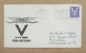 """COVER  CACHET WWII  """" V FOR VICTORY """"RED CROSS""""   w/SLOGAN  See Pic"""