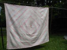 "Antique Hand Stitched Pink Amish Sunshine & Shadow Quilt 88"" X 76"""