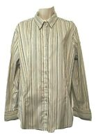 Dressbarn Women's Blouse Plus 1X 14/16W Long Sleeve Striped Button Down Shirt