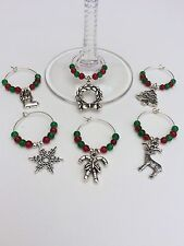 6 Christmas Celebration Wine Glass Charms. Party. Gift. Celebration