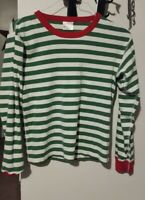 MEN'S HANNA ANDERSSON GREEN/WHITE STRIPED L/S PAJAMA TOP CHRISTMAS MEDIUM