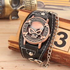 Men's Biker Metal Skull Chain Leather Bracelet Watch Wrist Watch F6