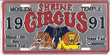 1991 Moslem Shrine Temple Circus License Plate – Detroit, Michigan