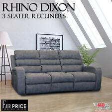 New Luxury Rhino Fabric 3 Seater Rhino Dixon Recliner Lounge Sofa Suite, Grey