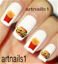 Burger Fries Nail Art Hamburger Food Foodie Water Decals Manicure Salon Polish