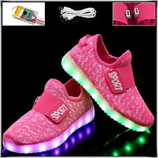 LED Trainers Shoes Boys Girls Light up USB Charger Luminous Kids Casual  SNEAKERS Pink EUR 30 8d5c973e7