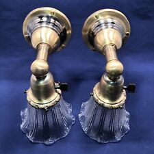 Wired Pair 1900's Arts & Crafts Brass Wall Sconces Vintage Shades Fixtures 19B