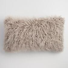 Oversized Mocha Mongolian Faux Fur Lumbar Pillow: Brown by World Market- Lumbar
