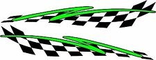 "checkered flag & swoosh racing vinyl graphics decal sticker set 11"" x 48"" green"