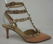 Valentino Rockstud Peach Patent Leather Pointy Toe Pump Heel Size 35