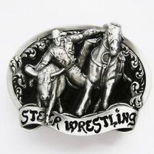 Rodeo Steer Wrestling - western brushed silver removable BELT BUCKLE - BP137
