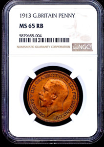 Great Britain 1923 1 penny ngc ns65rb beautiful gem pop 17/2