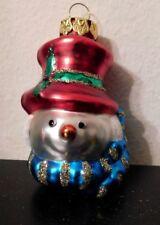 Snowman Head Glass Ornament