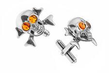 925 Sterling Silver & Baltic Amber Skulls Men's Cufflinks Jewellery Jewelry