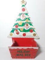 Vintage Christmas Tree Wooden Holiday Card Mail Box Hanging Elf Santa Japan