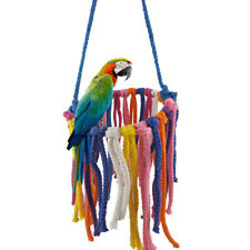Parrot Bird Bite Chew Toy Colorful Cotton Rope Knot Hanging Swing Chewing Supply