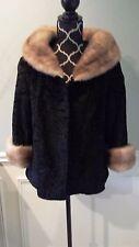 Vintage Neusteters Curly Lamb Fur Coat Jacket w/ Honey Mink Collar S/M Pristine