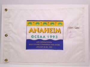 Dinah Shore Johnny Bench Autographed Signed Golf Flag Anaheim 1993 GCSAA