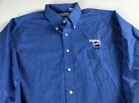 Pepsi Long Sleeve Dress Shirt Mens XL 17-17 1/2 Van Heusen Blue Button Up Down