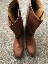 Clarks Ladies Bikers Mid Calf Boots VOLARA MELODY Rust Leather UK 5 1/2 New