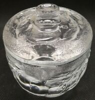 Pressed Glass covered Jam Dish with fruit pattern
